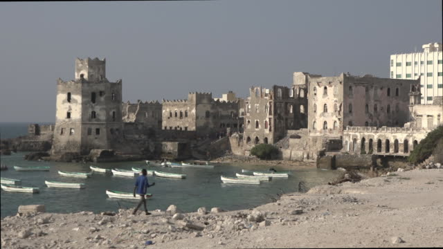 Scenes in the old fishing harbour in Mogadishu