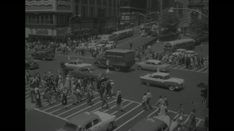 scenes of manhattan, nyc, before the civil defense drill: street scene herald square, with traffic, pedestrians, macy's department store / street... - one way stock videos & royalty-free footage