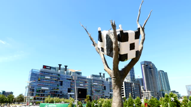 scenes of melbourne's docklands home to melbourne star ferris wheel on december 07 2016 in melbourne australia - sculpture stock videos & royalty-free footage