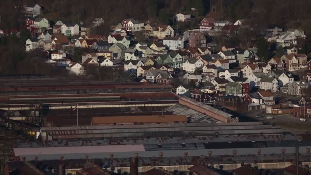 Scenes of the former Bethlehem Steel Corporation Johnstown plant and around town in Johnstown Pennsylvania US April 14 and 15 in 2016 Shots wide shot...