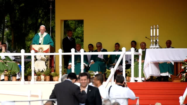 scenes of the pope francis or papa francisco mass in the revolution square where large amount of public gathered since early hours of the day to hear... - 2015 stock videos & royalty-free footage