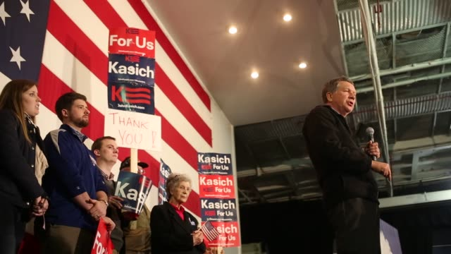 Scenes surrounding a rally for John Kasich governor of Ohio and 2016 Republican presidential candidate at the decommissioned USS Yorktown aircraft...