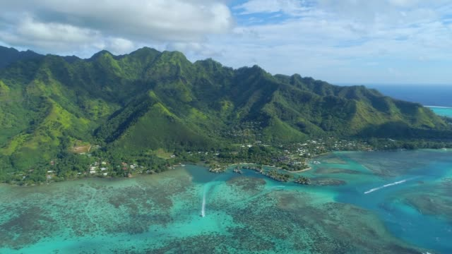 scenic aerial drone view of a luxury resort tropical island hotel in moorea, french polynesia. - isole del pacifico video stock e b–roll
