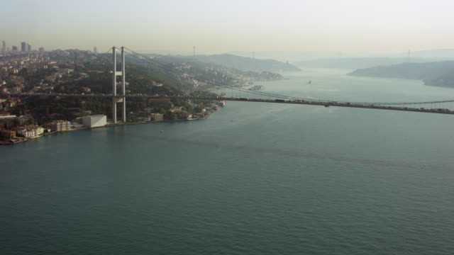 scenic aerial of bosphorus bridge - july 15 martyrs' bridge stock videos & royalty-free footage