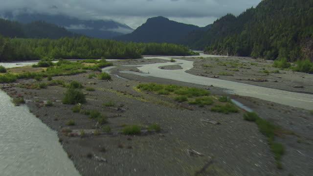 scenic aerial of braided river in alaska - kenai peninsula stock videos & royalty-free footage