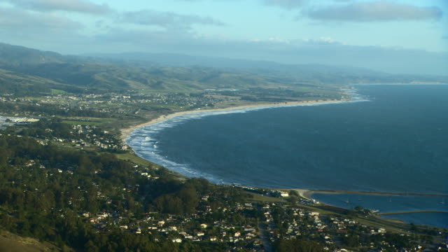 Scenic aerial shot of Half Moon Bay in San Mateo County, Northern California.