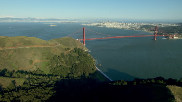 Scenic aerial shot of the Golden Gate Bridge and the San Francisco Bay.