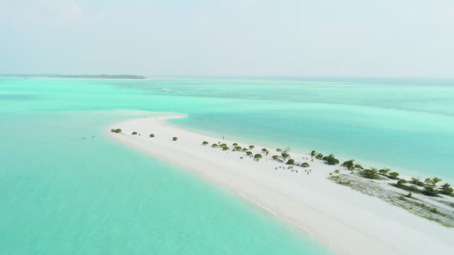ws scenic aerial view idyllic tropical sunny beach and ocean,maldives - 30 seconds or greater stock videos & royalty-free footage