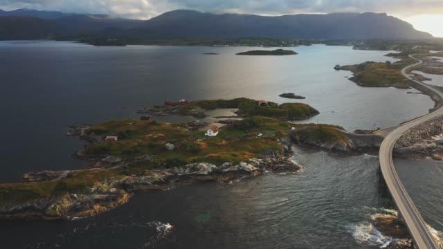 scenic aerial view of  atlantic road  at sunset - north atlantic ocean stock videos & royalty-free footage