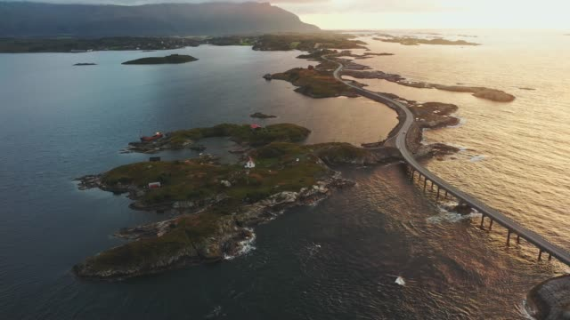 scenic aerial view of  atlantic road  at sunset - atlantic ocean stock videos & royalty-free footage