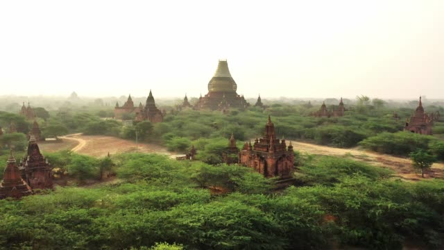 scenic aerial view of bagan heritage site - monastery stock videos & royalty-free footage