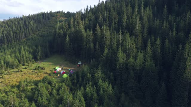 scenic aerial view of camping in mountains in autumn - camping stock videos & royalty-free footage