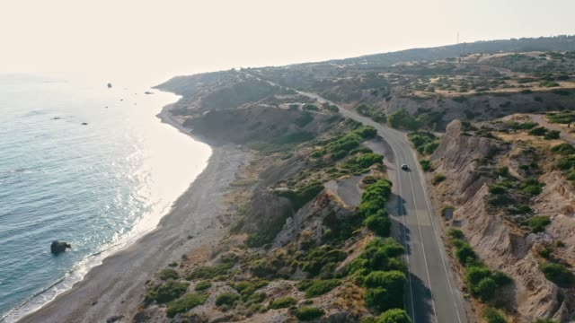 scenic aerial view of  car near seaside on cyprus - republic of cyprus stock videos & royalty-free footage
