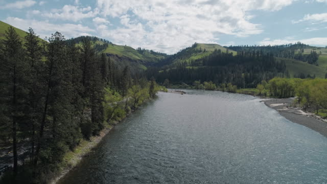 scenic aerial view of clearwater river between mountains in the rattlesnake wilderness area, missoula county, montana, in the sunny spring day. drone video with the panoramic cinematic camera motion. - national landmark stock videos and b-roll footage