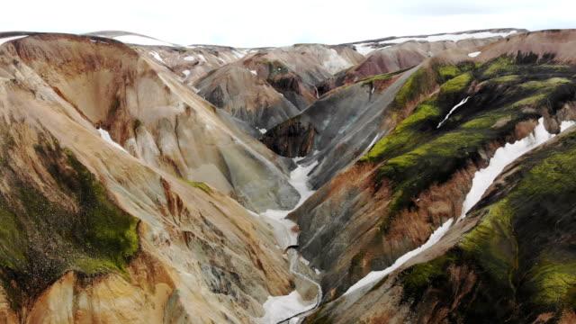 malerische luftaufnahme des bunten bergen in landmannalaugar in island - fließendes gewässer stock-videos und b-roll-filmmaterial