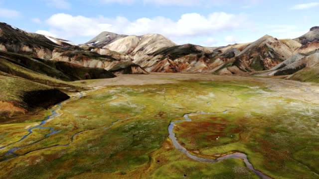 Scenic aerial view of colorful mountains in Landmannalaugar in Iceland