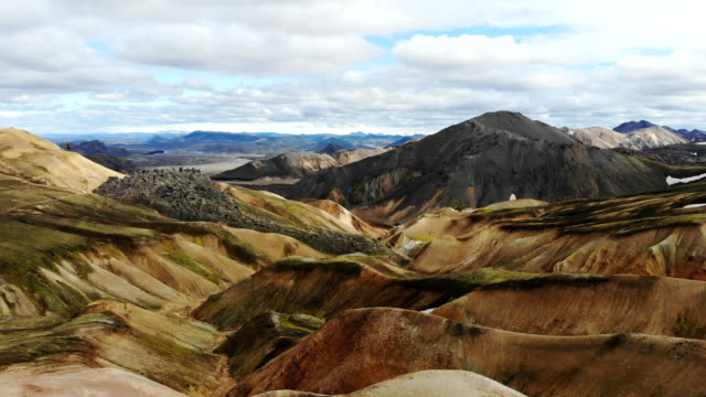 scenic aerial view of colorful mountains in landmannalaugar in iceland - iceland stock videos & royalty-free footage