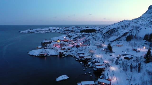 scenic aerial view of fishing town in lofoten islands in winter - village stock videos & royalty-free footage