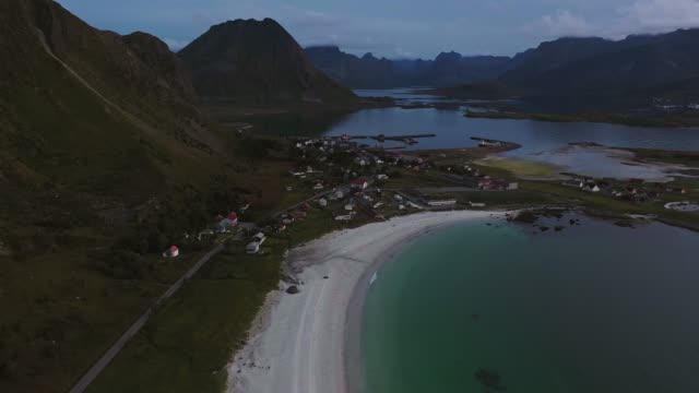 scenic aerial view of fishing village in lofoten islands - norwegian sea stock videos & royalty-free footage