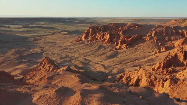 scenic  aerial view of gobi desert at sunset - independent mongolia stock videos & royalty-free footage