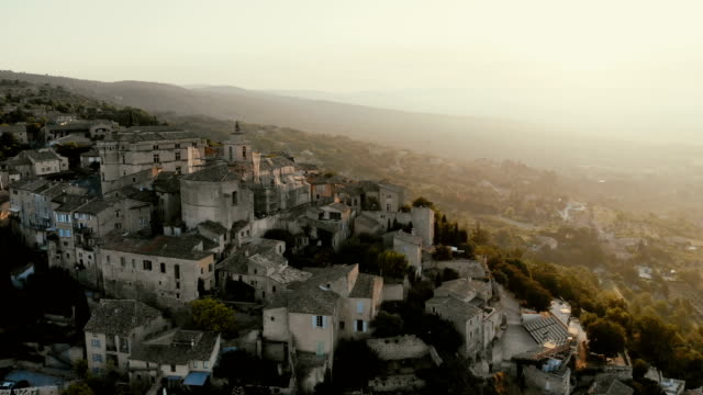 scenic aerial  view of gordes village in provence - provence alpes cote d'azur stock videos & royalty-free footage