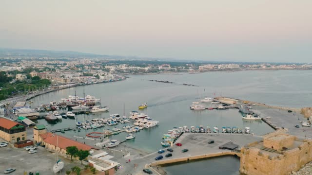 scenic aerial view of harbor on cyprus - republic of cyprus stock videos & royalty-free footage