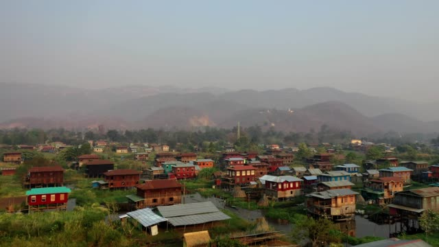 scenic aerial view of inle lake village - myanmar stock videos and b-roll footage
