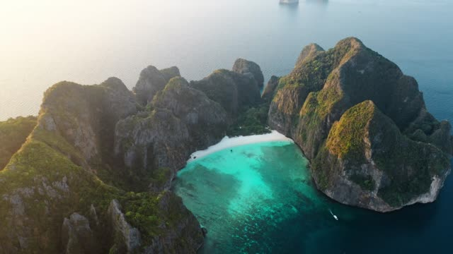 scenic aerial view of koh phi phi island in thailand - rock formation stock videos & royalty-free footage