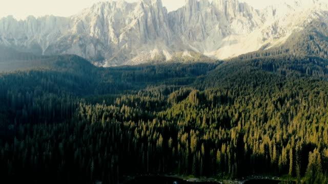 Scenic aerial view of Lago di Carezza in Dolomites