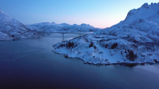 scenic aerial view of lofoten islands in winter - coastal feature stock videos & royalty-free footage