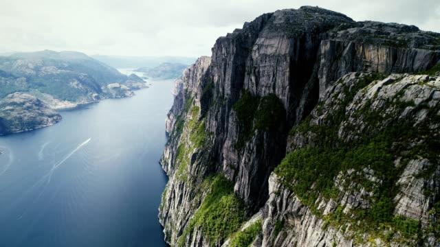 natursköna flygfoto över lysefjorden - mountain range bildbanksvideor och videomaterial från bakom kulisserna
