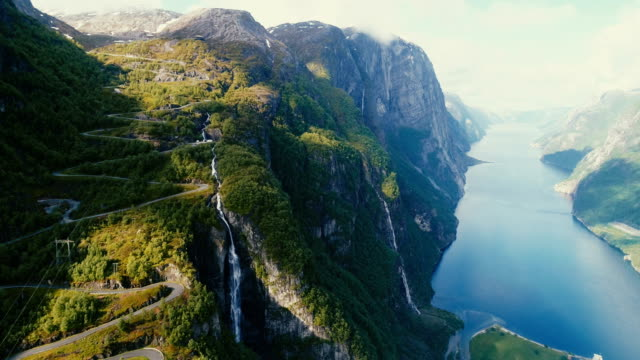 scenic aerial view of lysefjorden - horizontal stock videos & royalty-free footage