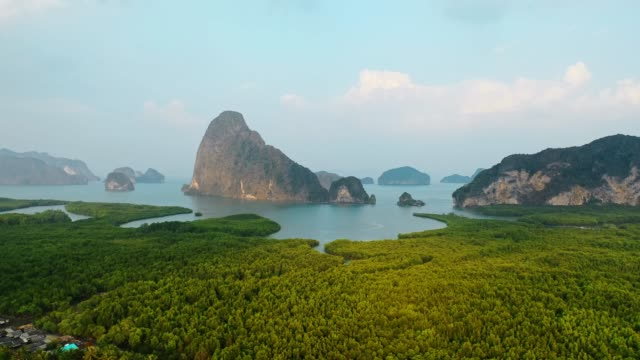 scenic aerial view of phang nga at sunrise - tropical rainforest stock videos & royalty-free footage