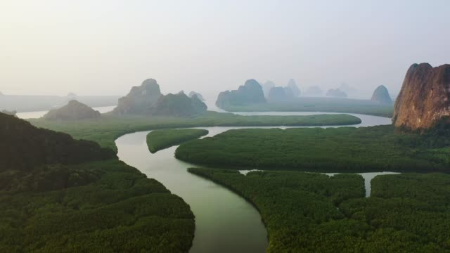 scenic aerial view of phang nga at sunrise - rock type stock videos and b-roll footage