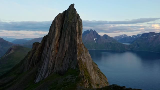scenic aerial view of segla mountain  in norway - drone point of view stock videos & royalty-free footage