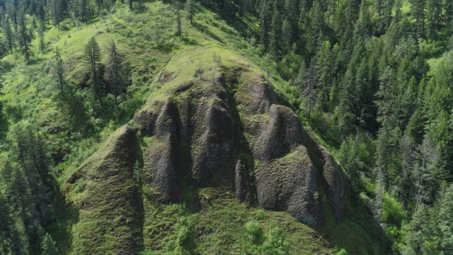 vídeos de stock e filmes b-roll de scenic aerial view of the mountains in the rattlesnake wilderness area, missoula county, montana, in the sunny spring day. drone video with the cinematic complex forward, ascending and tilting-down camera motion. - território selvagem