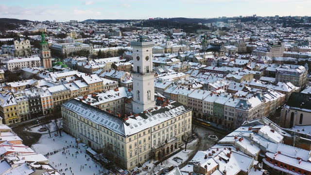 scenic aerial view of the old city district during snowfall - ukraine stock videos & royalty-free footage