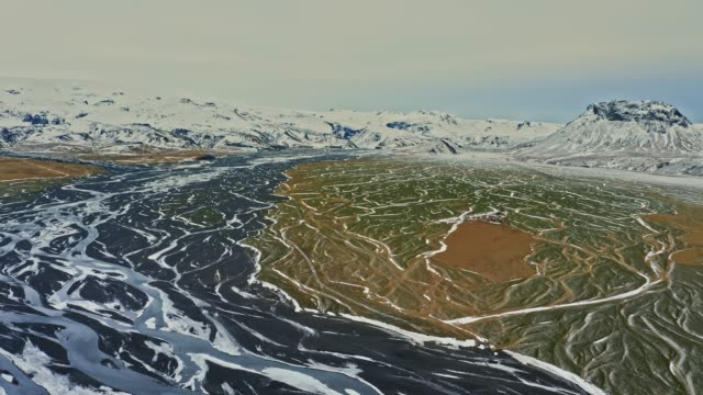 Scenic aerial view of the river in Iceland at winter