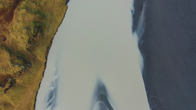 Scenic aerial view of the river in Iceland