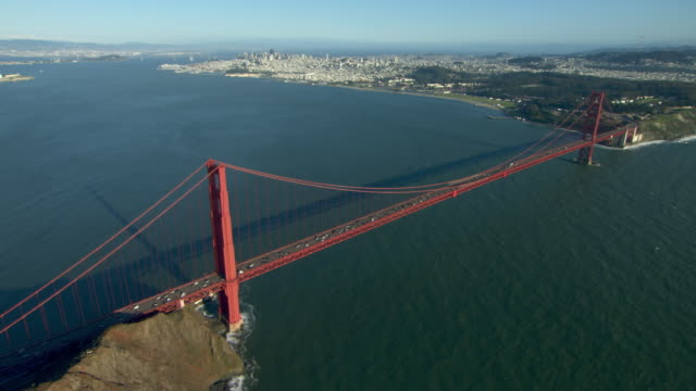 scenic aerial view of the san francisco bay area with the golden gate bridge and the city of san francisco. - san francisco bay stock videos and b-roll footage