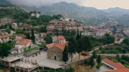 Scenic aerial view of town in mountains in Cyprus