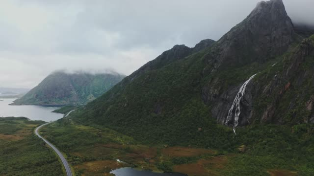 scenic aerial view of waterfall in norway - valley stock videos & royalty-free footage