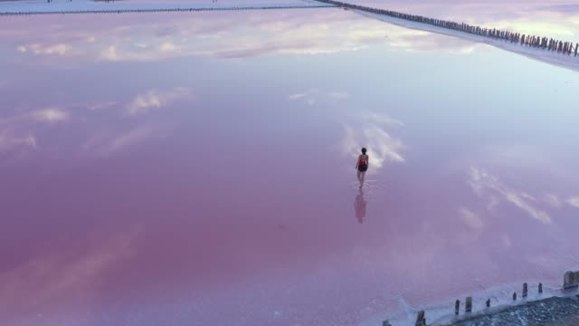 scenic aerial view of woman walking  on pink salt lake in ukraine - reflection stock videos & royalty-free footage
