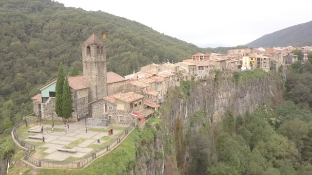 Scenic cathedral in Spain, aerial