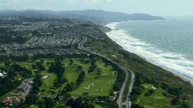scenic coastal landscape on the outskirts of san francisco with the olympic club, an athletic and social club that is home to three golf courses. - westlake village california stock videos & royalty-free footage