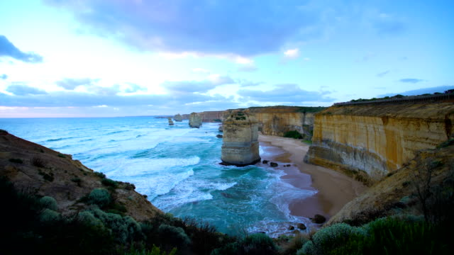 scenic coastline view twelve apostles rock stacks australia - port campbell national park stock videos & royalty-free footage