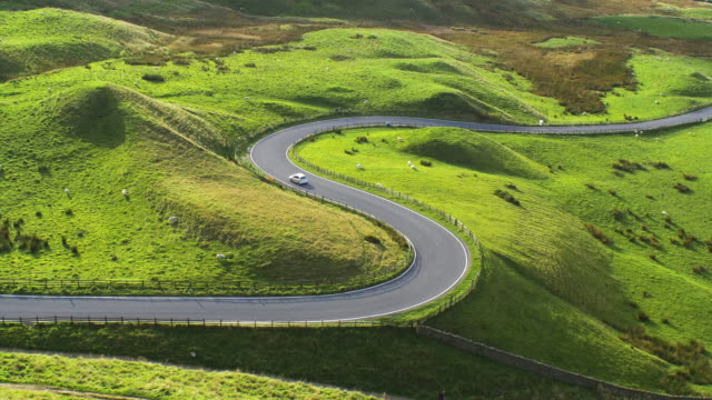 Scenic curving road in the English Peak District.4K.
