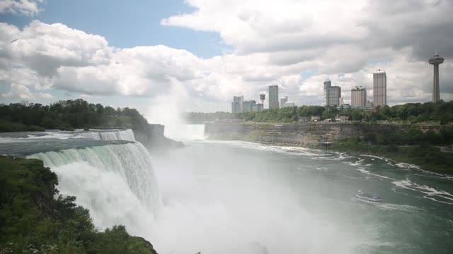 scenic footage of niagara falls and tourists watching from viewing platform in ontario canada on wednesday june 21 2017 shots wide shot of tower and... - cascate del niagara video stock e b–roll