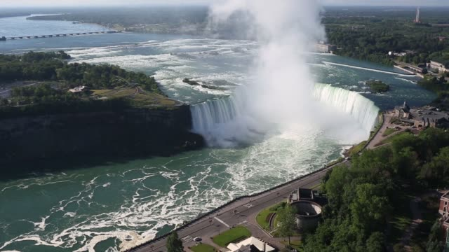 Scenic footage of Niagara Falls in Ontario Canada on Wednesday June 21 2017 Shots wide high angle shot of entire Niagara falls area wide high angle...