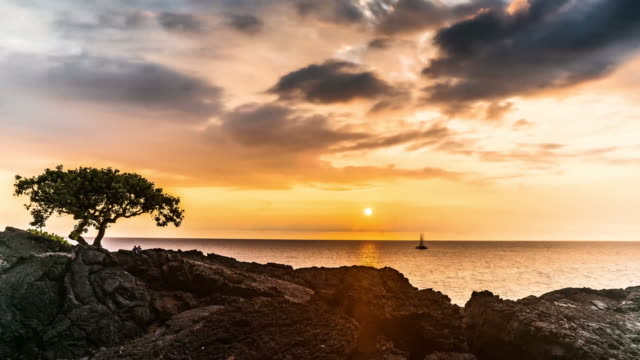 Scenic Hawaii sunset time lapse